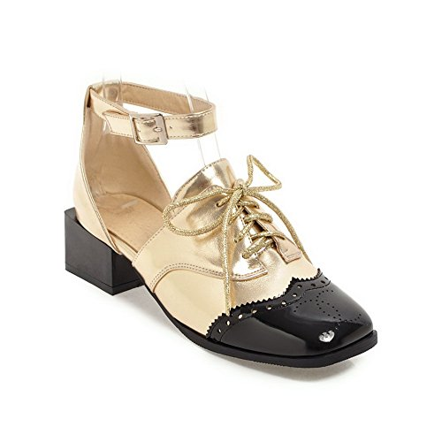 AdeeSu Womens Sandals Peep-Toe Lace-up Adjustable-Strap Heeled Cold Lining Rubber Cold-Weather Urethane Sandals SLC03560 Beige