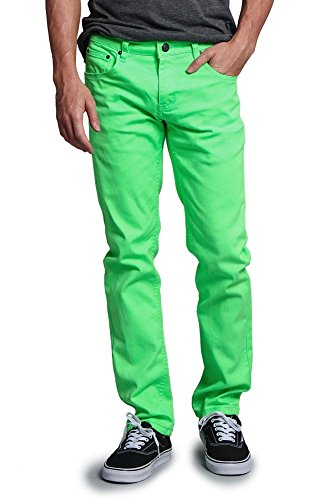 Victorious Men's Skinny Fit Color Stretch Jeans DL937 - NEON Green - 38/32