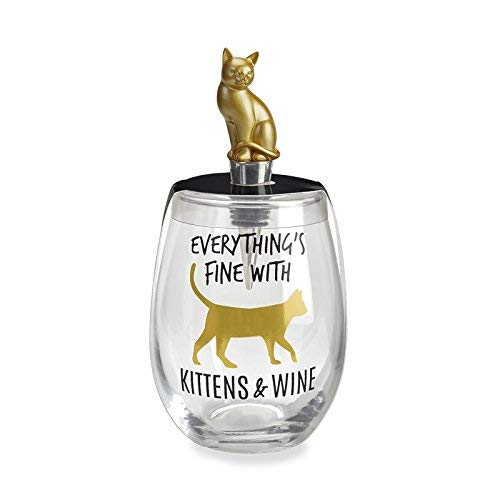 Wild Eye Designs W38334 Kittens Wild Eye Kittens & Wine Wine Glass & Stopper Set, 10 oz, Multicolor (Kitten Glasses)