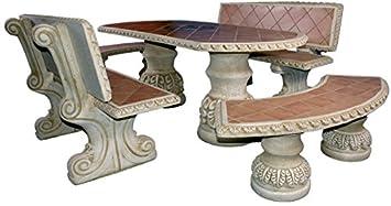 Tavolo Esterno Con Piastrelle : Set di tavolo pranzo sandwich e panche con schienale per giardino
