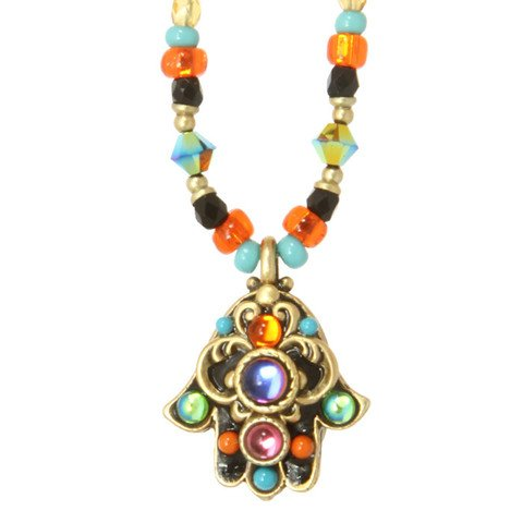 Michal-Golan-Gold-Plated-Small-Multicolor-Swarovski-Crystal-Hamsa-Hand-Pendant-with-Beaded-Necklace