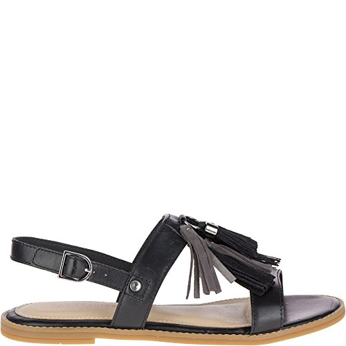 Hush Puppies Women's Chrissie Tassel Flat Sandal, Black, 9.5 M US (Hush Puppies Ladies Shoes)