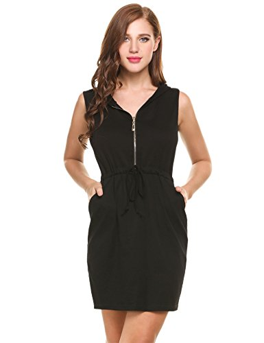 Meaneor Women Casual Round Neck Sleeveless Hoodie Zip-up Short Mini Dress With Pocket (Hood Dress)