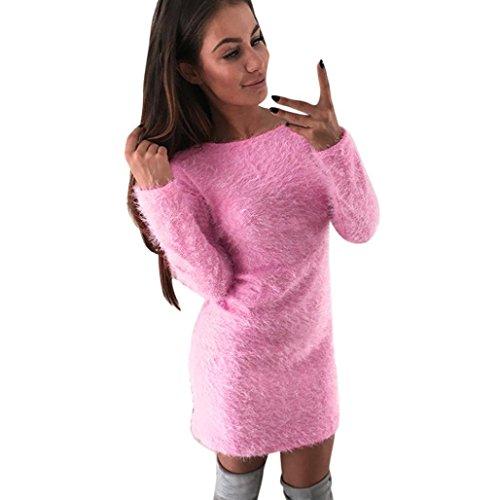 Internet Sexy Femme Col Rond Robe  Manche Longue Acrylique Robe de Automne Cou Ronde Casual Pulls Tricot Chaleureux Sauteur Longue Sweatshirt Cocktail Robe Polaire Chaude Rose
