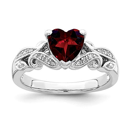 925 Sterling Silver Diamond Red Garnet Band Ring Size 6.00 S/love Gemstone Fine Jewelry Gifts For Women For Her ()