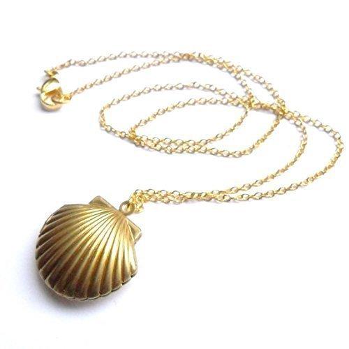 (JISTL Sea Shell Locket, Mermaid Valentine Necklace, Beach Locket, Gold Tone Brass, Little Shell Locket, Nautical Jewelry)
