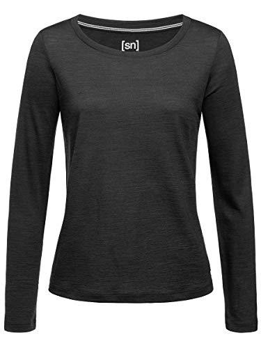 super.natural Women Jet Black Melange Essential Scoop Long Sleeve T-Shirt