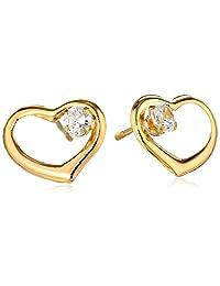 14k Yellow Gold Cubic Zirconia Heart Stud Earrings