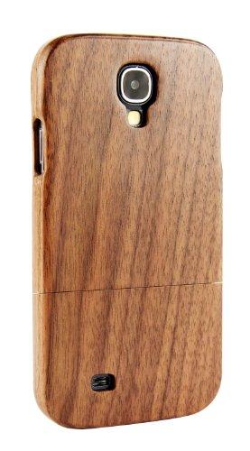 SunSmart Madera natural hecho a mano dura cubierta de la caja de bambú para el Samsung Galaxy S4 IV con protector de pantalla gratis (palisandro y arce) nogal negro