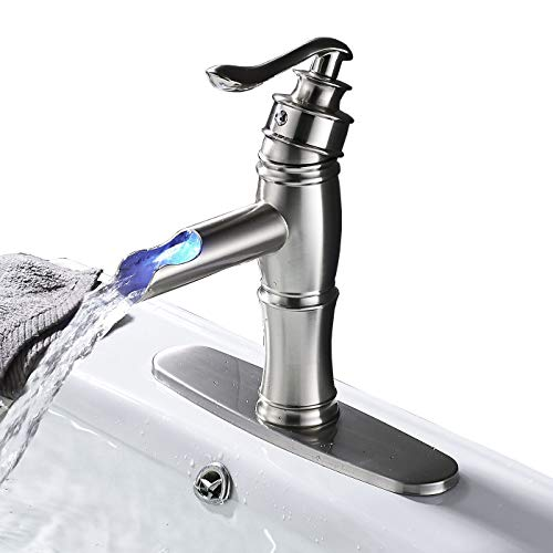 Rozin LED Light Waterfall Single Handle Basin Faucet with 8-inch Deck Plate Brushed Nickel by Rozin