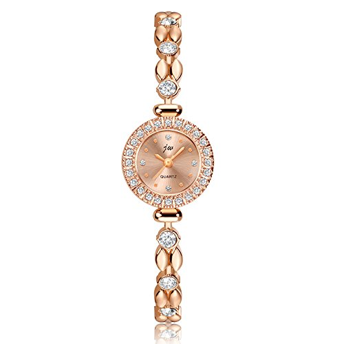 Ladies Quartz (Women's Quartz Rose Gold Brushed Dial Wrist Watch with Waterproof Slim Crystal Bracelet, Casual Fashion Watches for Women)