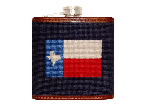 Smathers & Branson Texas Flag Needlepoint Flask - Dark Navy (Flask-24) (Needlepoint Flask)