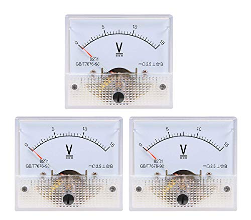 YXQ 0-15V Analog Voltmeter Panel 85C1-V Gauge Meter 2.5 Accuracy for Auto Circuit Measurement Tester (DC -