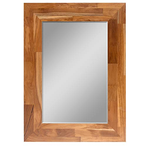 GLS Solid Teak Wall Mount Mirror Frame 23.23x15.35 Inch,31.5x23.62x0.79 Inch Overall Size -
