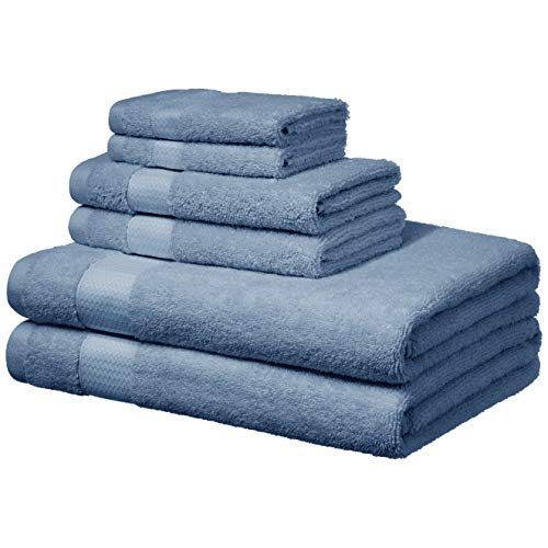 AmazonBasics Everyday Bath Towels – 6 Piece Set, Cornflower Blue