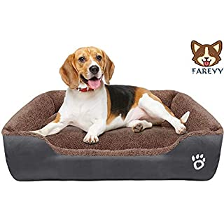 FAREYY Dog Beds for Small/Medium/Large Dogs, Soft Blaster Dog Bed with Washable Removable Cover, Dog Sofa Couch Pet Bed with Nonslip Bottom -Waterproof Oxford Cloth