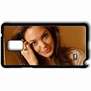Personalized Samsung Note 4 Cell phone Case/Cover Skin Angelina jolie ring hair smile Actress Black