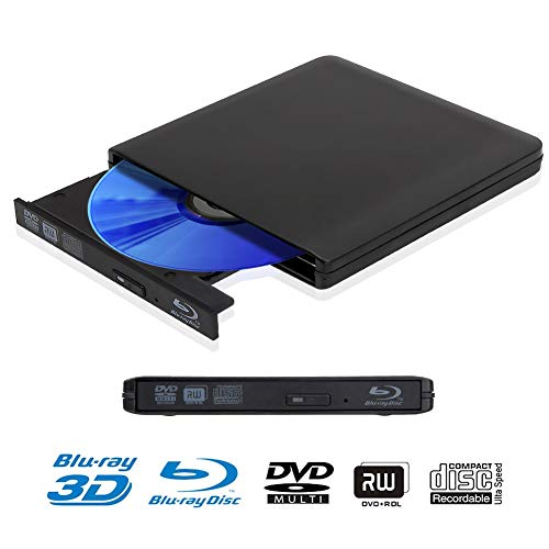 External 4K 3D Blu Ray DVD Drive, Portable USB 3.0 Blu Ray DVD Player Reader Disk for Mac OS, Windows 7/8/10,Linxus, Laptop, PC (Black)