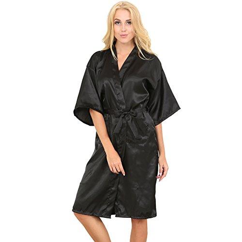 donna vestaglia raso S Beauty in Nero da kimono in lunga stile TAI5qw5Y