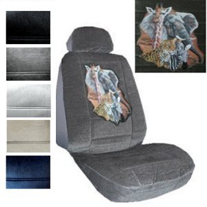 Seat Cover Connection Leopard Zebra Giraffe Elephant print 2 Low Back Bucket Car Truck SUV Seat Covers with 2 Head Rest Covers - Charcoal Grey Giraffe Car Seat Cover