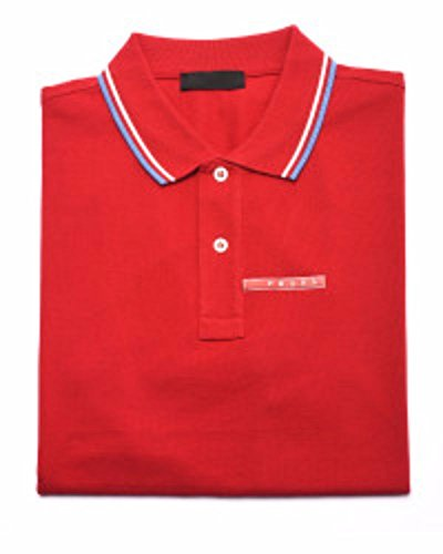 Prada Men's Cotton Piqué Short Sleeve Slim Fit Polo Shirt, Red SJJ887 (L - Prada White Polo
