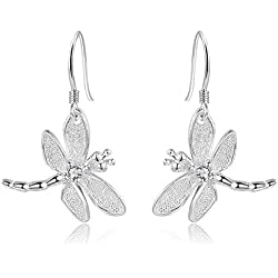 2016 Popular Catwalk Sterling Silver 925 Women's Vivid Animals Silver Earrings Small Dragonfly Pendant Drop Earrings