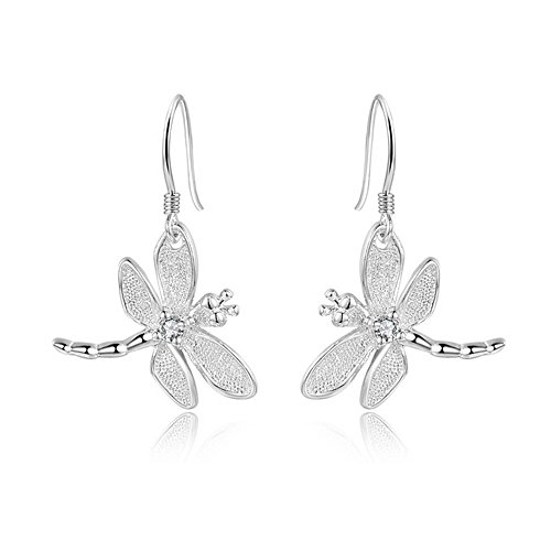 (FIFATA Catwalk Sterling Silver 925 Women's Vivid Animals Small Dragonfly Pendant Drop Earrings)