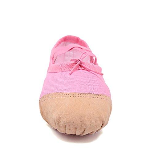 Scarpe Da Ballo In Tela Keesky Ballerine Con Suola Divisa Scarpe Da Ballo (bambino / Bambino / Bambino / Donna Grande) Rosa