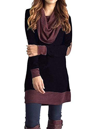 (Sunfung Women's Casual Long Sleeve Tops Cowl Neck Two Tone Color Block Pullovers Elbow Patchs Loose Long Tunic Blouse (Black,)