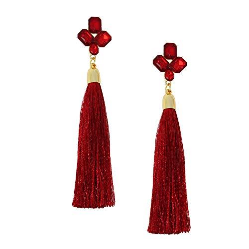 Crystal Rhinestone Bohemian LongTassel Dangle Earrings Drop Tiered Thread Statement Earrings Women Girls Chandelier Filigree Charm Ethnic Fringe Statement Tribal Soriee Fashion Lady Earring ()