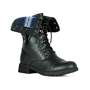 Women's Winter Combat Booties Ankle to Mid Calf Lug Sole Stacked Heel Military Motorcycle Boots Black 11