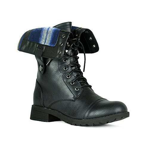 Women's Winter Combat Booties Ankle to Mid Calf Lug Sole Stacked Heel Military Motorcycle Boots Black 7.5