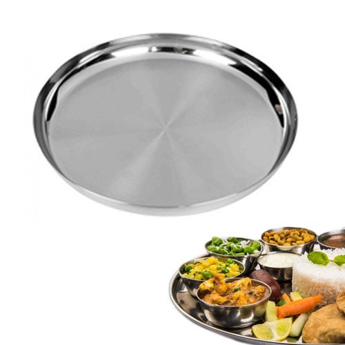 IndiaBigShop Stainless Steel Round Plates, Plates for Kids Thalis for Dinner Plate Silver ()
