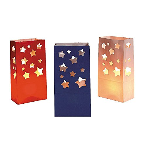 Patriotic Luminary Bags Red White Blue Stars (12