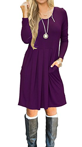AUSELILY Women's Long Sleeve Pleated Loose Swing Casual Dress With Pockets Knee Length (L, Purple)