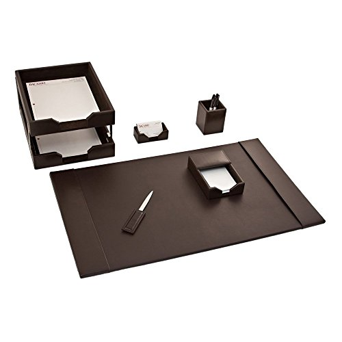 Dacasso Brown Leather 8-Piece Econo-Line Desk Set electronic consumers