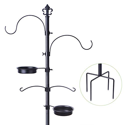 BOLITE 18014 Bird Feeding Station for Outdoors, Multi Feeder Pole Stand Hanging Kit, Bird Feeders for Outside with 4 Hangers, Improved Version (Pole Best Bird Feeder)