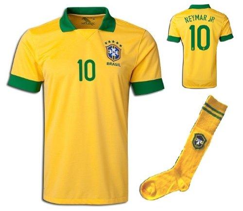 2013/2014 Brazil Brasil Home Neymar #10 Football Soccer Kids Jersey with FREE Shorts & Socks Set