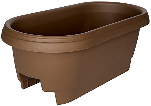 "Bloem Deck Balcony Rail Planter, 24"", Chocolate (Pack of 6)"