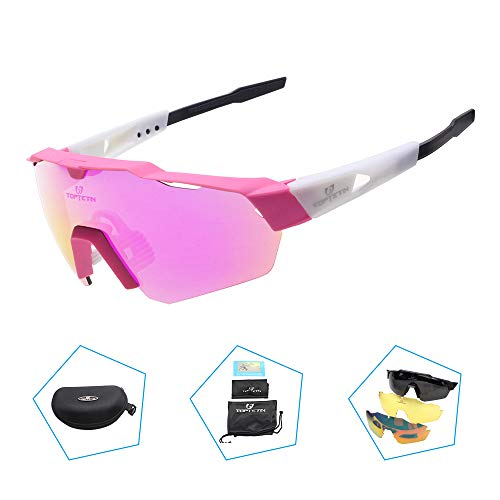 TOPTETN Polarized Sports Sunglasses with Interchangeable Lenes for Men Women Cycling Running Driving Fishing Golf Baseball Glasses (Pink)