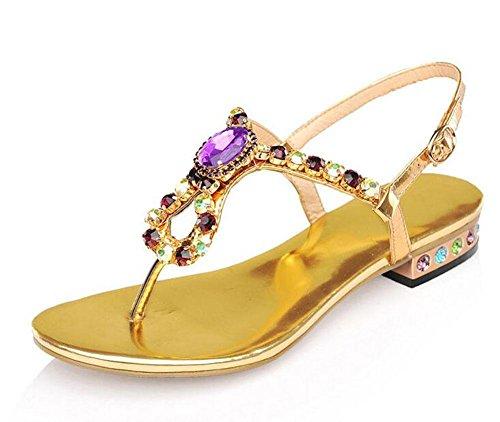 sandali scarpe signore estate dolce GLTER gold Pelle spiaggia di Flops romani di Flip colorate Donne Pattini 7xxPXOzq