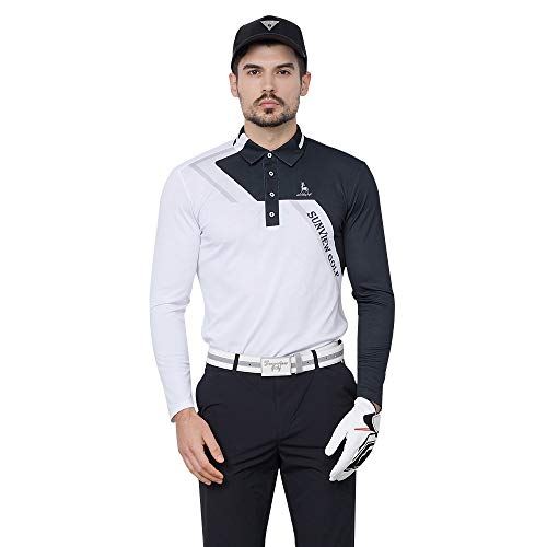 SVG Sunviewgolf Men's Color Block Contrast Jersey Long Sleeve Golf Polo T-Shirts(M,Black)