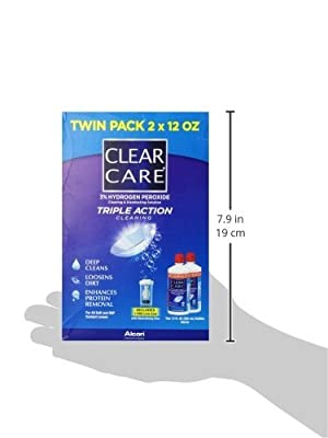 Alcon Clear Care with Lens Case, Twin pack, 12 oz ea (Pack of 3 Twin Packs)