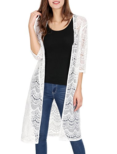 Allegra K Women's 3/4 Sleeve Cover Up Semi Sheer Lace Crochet Cardigan White L (US - Cardigan Long Summer