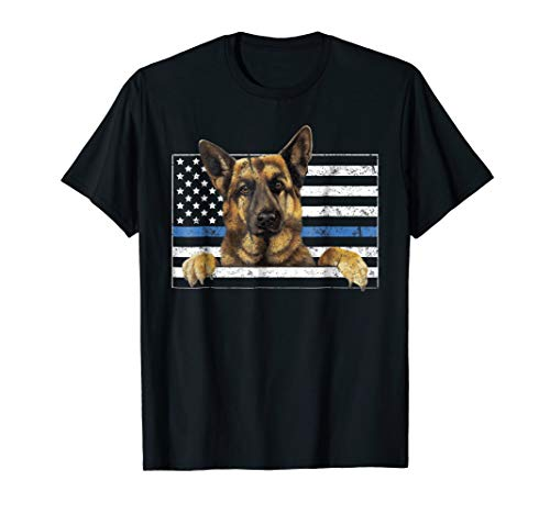 Thin Blue Line K9 German Shepherd TShirt Dog Police for sale  Delivered anywhere in USA