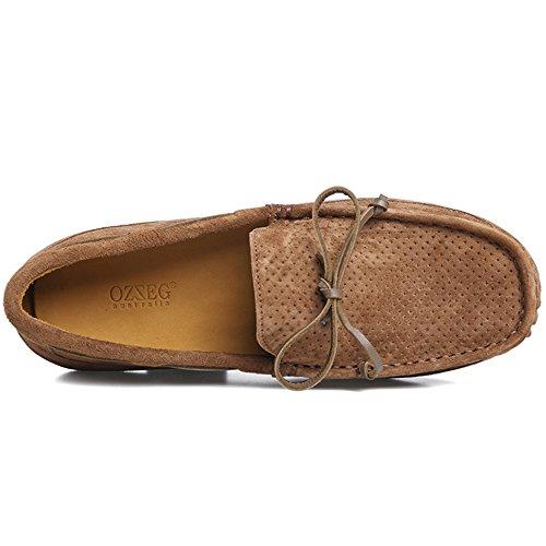 OZZEG hommes cuir Chaussures Slip on porc cuir supérieur mocassins chaussures (41, Café)