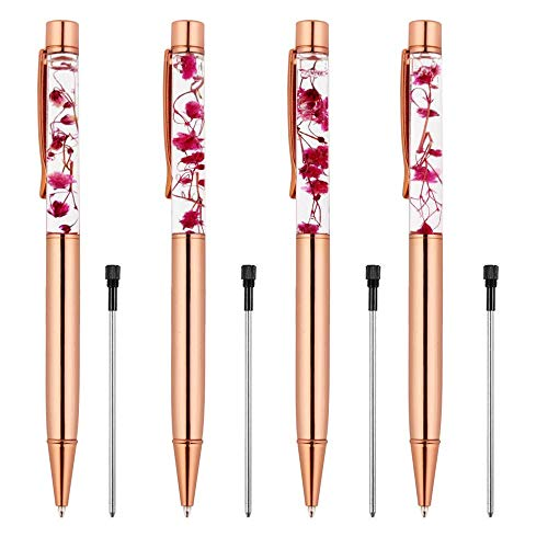 Rose Gold Ballpoint Pen,4 Pieces Metal Ball Pens Dynamic Liquid Flower Pen Black Ink Pen Refills for Office Rose Gold Desk Supplies - Guest Book Refill