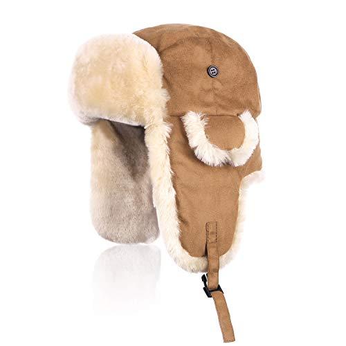 IKEPOD Shearling Sheepskin Aviator Russian Ushanka Winter Hunting Trapper Hat Brown