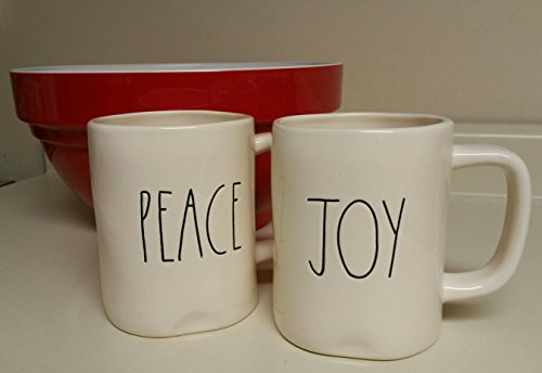 Rae Dunn Peace and Joy Christmas Mugs set (2) by Magenta