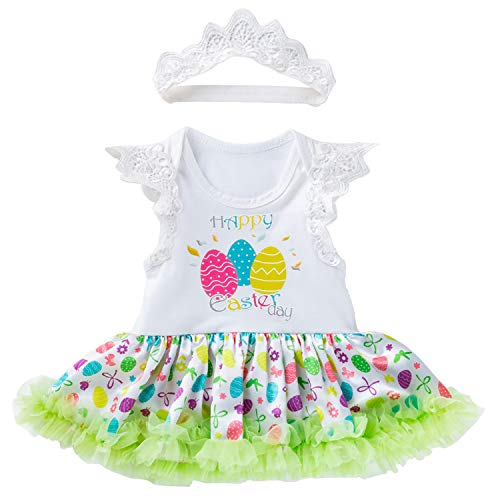 Infant Baby Girl St. Patrick's Day Outfit Bodysuit Tutu Dress Green Headband 2Pcs Clothing Set (Easter Eggs Pattern Dress, 3-6 Months)